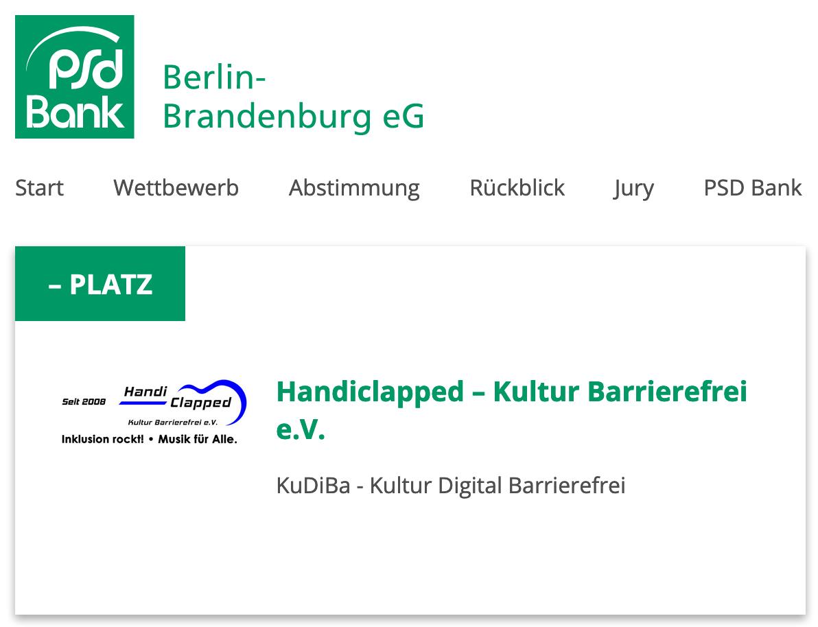 Ein Screenshot Von Der KuDiBa Teilnahme Bei Einem Wettbewerb Der PSD Bank.