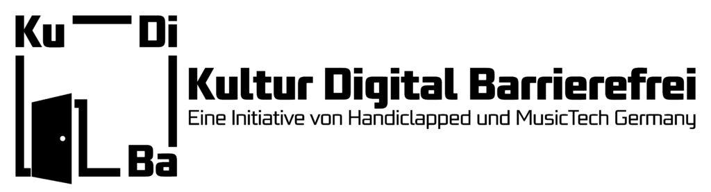 """Das KuDiBa-Logo in schwarz-weiß. Links ist eine Bildmarke in Form eines Vierecks. Darauf ist links unten eine nach rechts halb geöffnete Tür zu sehen. Links oben sind die Buchstaben Ku, rechts oben die Buchstaben Di und rechts unten die Buchstaben Ba zu sehen. Alle Buchstaben sind mit einem schwarzen Balken verbunden. Rechts neben der Bildmarke steht """"Kultur Digital Barrierfrei"""" geschrieben. Darunter steht """"Eine Initiative von Handiclapped Berlin und MusicTech Germany."""