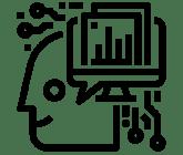 Ein Icon In Form Von Einem Strichmännchen-Kopf, Der Nach Links Schaut Und Auf Dessen Rechter Kophälfte Ein Bildschirm Mit Graphen Im Vordergrund Und Angedeutete Platinen Als Haare.