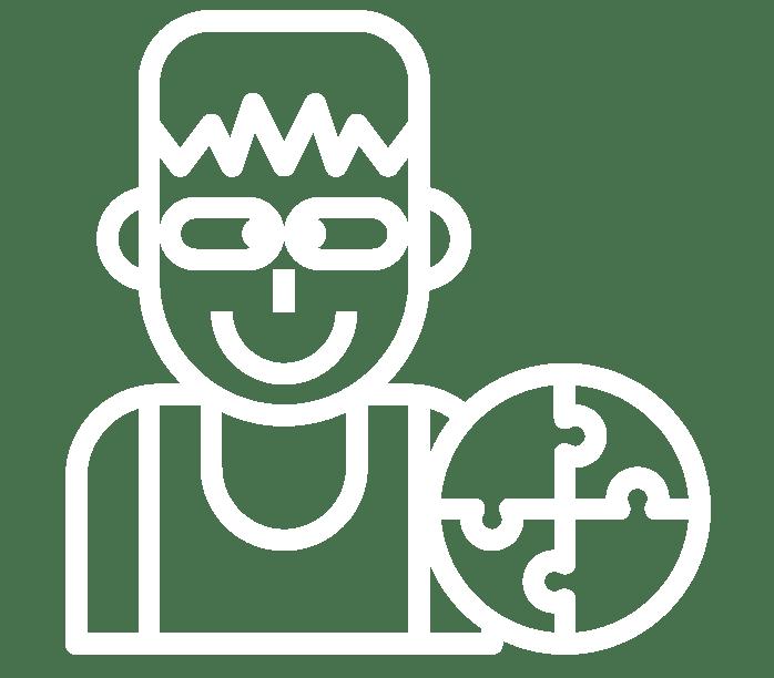 Icon Von Einer Schielenden Person Miit Einem Runden, Zusammengeetzten Puzzel Im Vordergrund