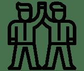 Zwei Stichmännchen Icons Klatschen Sich Mit Ihren Armen Auf Kopfhöhe Ab
