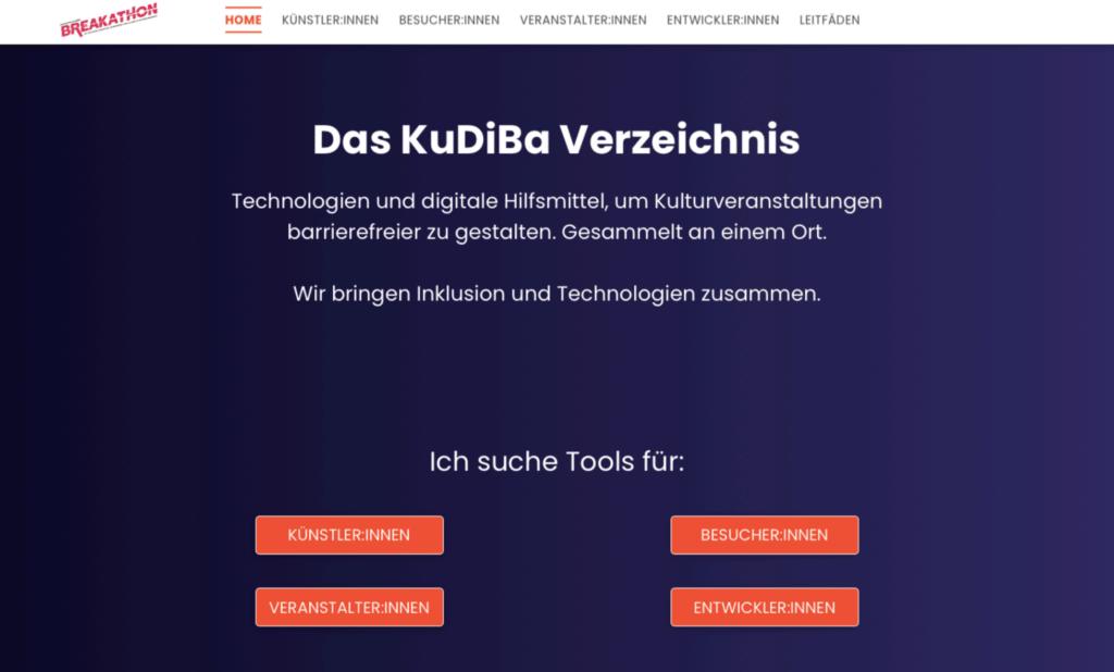 Screenshot KuDiBa Online Verzeichnis Startseite